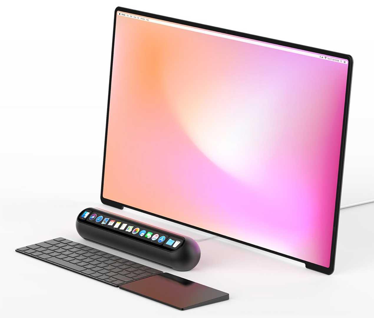 تپتاپ از یک مانیتور لمسی، موس پد، کیبورد و یک قطعهی استوانهای شکلِ لمسی تشکیل شده که قطعهی لمسی اپلیکیشنها و برنامههای پرکاربرد را در خود جای داده است.