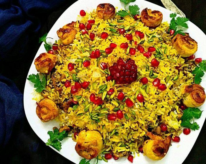 انار پلو غذای مجلسی شب یلدا