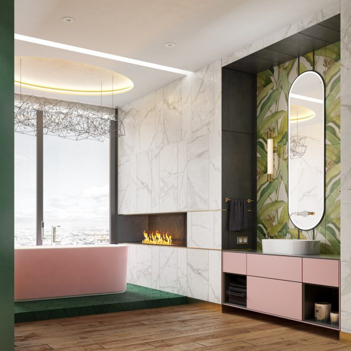 حمام لاکچری با شومینه
