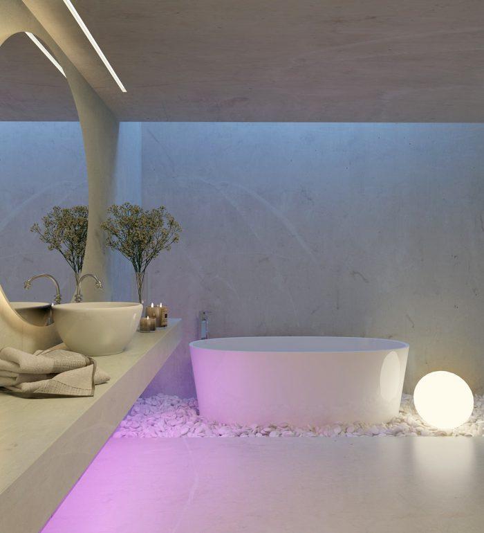 حمام لاکچری سفید