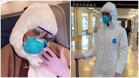 شامل دو تصویر، که در هر دوی آنها زنی ماسکی به صورت دارد و لباس مجهز ضد ویروس به تن کرده است.